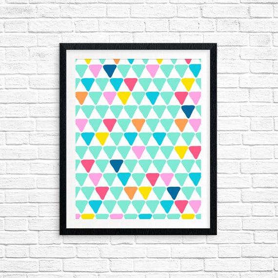 Printable Art, Aqua Triangles Pattern, Pattern, Modern Art, Minimalist Art, Art Printable, Home Decor, Digital Download Print
