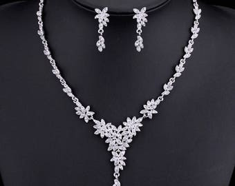 Wedding Jewellery Set (Necklace and Earrings), Bridal Necklace and Earrings, rhinestone, crystal