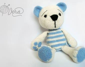 Crochet bear, blue bear, baby showers, toy for newborn, toy for baby boy, toy for baby girl, pink bear, pink toy, amigurumi bear