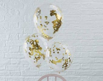 The 5 balloons, confetti gold