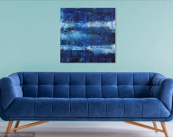 Abstract #2 medium wall abstract painting art blue white scrape