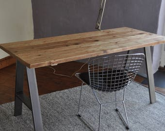 Desk Industrial Reclaimed Wood Table Custom Made on A Frame Steel Metal Leg Rustic 7MAGOK Scaffold Wood Office Desk Furniture Office Design