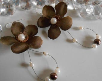 Earrings long wedding Brown beaded flowers