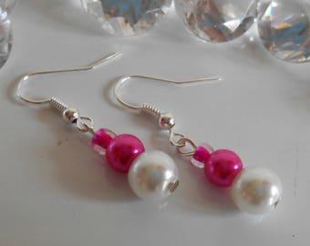 White and Fuchsia wedding Girly earrings