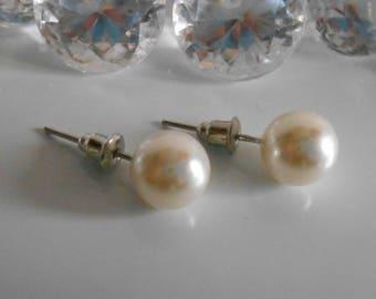 Wedding Stud Earrings 10 mm Ivory Pearl