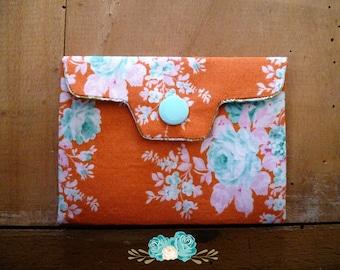 Porte carte bohème vintage tissu tilda, orange et turquoise / menthe, boho, pochette à bijoux, médicaments, cadeau fête des mères