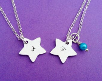 star necklace, initial necklace, star initial necklace, star jewelry, star jewellery, star charm, star initial, star initial charm, star