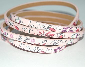 1 meter (m) flat leather sold by 10 cm with floral print (flowers) 5 mm pink light costume