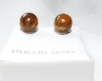 Tigers Eye stud earrings 925 silver