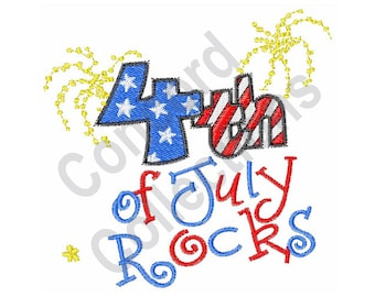 Fourth Of July Rocks - Machine Embroidery Design, Fourth of July - Machine Embroidery Design