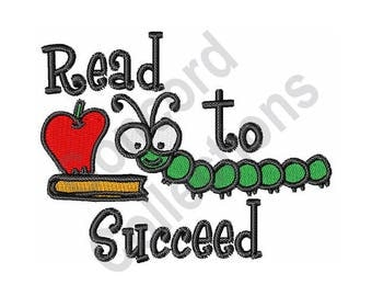 Read To Succeed - Machine Embroidery Design, Book - Machine Embroidery Design, Book Worm - Machine Embroidery Design