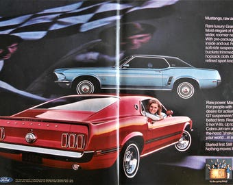 Ford Mustang. 1969 Ford Mustang ad.  1969 Mustang Mach 1. 1969 Mustang Grande ad. Vintage Ford Mustang ad.  Look Magazine.  March 18, 1969.