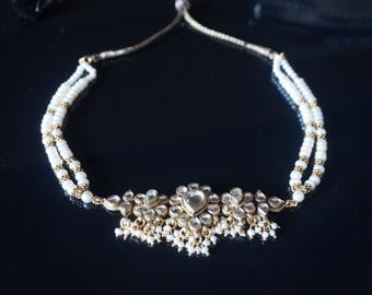 Hyderabadi Bridal White Rhinestones Choker Necklace, with real pearls, so beautiful!!!