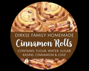 Customized Label - Cinnamon Rolls, Watercolor Style Label - Watercolor Cinnamon Buns - Custom Bakery Labels
