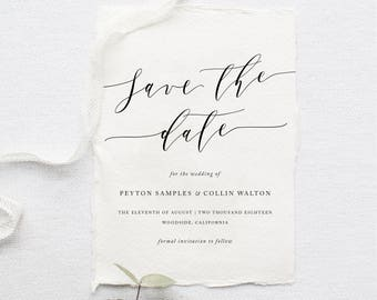 Printable Save The Date | Simple Invite, Calligraphy, Modern Save The Date