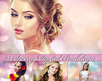 25 Spring Digital Backdrops Pastel Digital Backdrops Spring Background Photoshop Overlays Summer Digital Backdrops