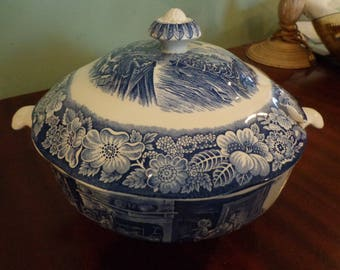Liberty  Blue Staffordshire Soup Tureen Boston Tea Party NEVER USED