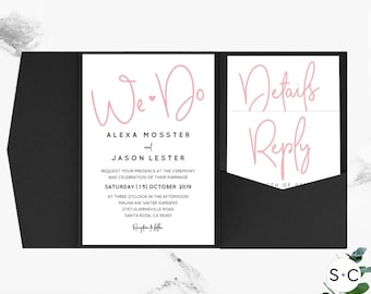Blush We Do Heart Pocketfold Wedding Invitation Template| Printable Wedding Invitation Template | Pocket Invitations Template