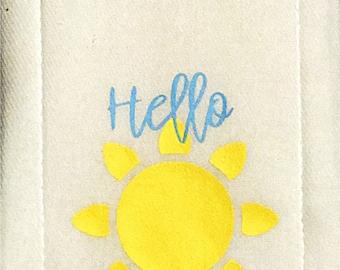 Hello sunshine burp cloth
