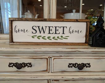 "Ready to Ship* Framed Wooden ""home SWEET home"" Sign/Farmhouse Sign/Rustic Sign/Housewarming Gift/Gallery Wall Sign"