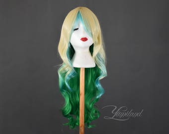 Long and Wavy Blonde and Green Wig | Ombre Wig | Blonde Wig | Green Wig | Multicolor Wig | Costume Wig - high quality synthetic hair