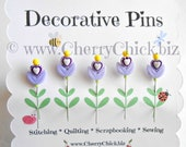 Sewing Pins - Heart Pins - Gift for Quilters - Decorative Sewing Pins - Pretty Pins - Fancy Pins - Scrapbooking Pins - Quilting Pins