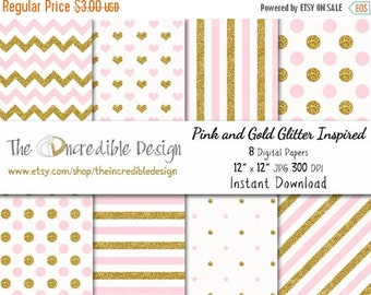 ON SALE Pink and Gold Glitter Inspired digital paper pack for scrapbooking, Making Cards, Tags and Invitations, Instant Download
