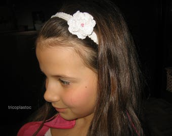 Recycled, lace elastic headband as white flower crocheted with recycled plastic bags, clothing