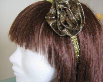 Headband, gold, rhinestone headband Gold Flower brooch hand made, gold, black satin belt