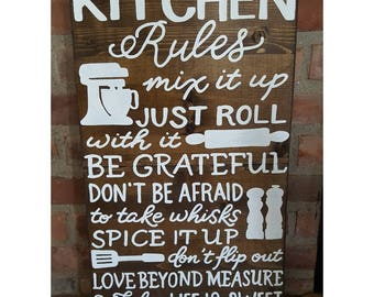 Kitchen Rules wood sign