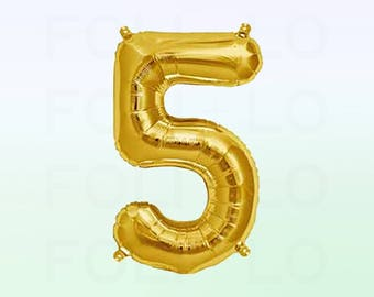 Metallic Gold Number 5 Balloon | Gold 5 Birthday Balloon | Gold Number 5 Balloon | Jumbo Number 5 Balloon
