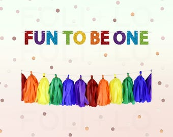 1st BIRTHDAY Banner | Fun To Be One Garland | Birthday Party Decoration | Rainbow Party Garland | ONE Happy Birthday Banner