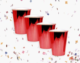 Red Cups | Metallic Red Cups | Red Party Decoration | Red Party Theme | Size 12oz | Set of 8