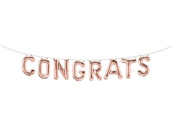 CONGRATS Rose Gold Letter Balloons | Metallic Letter Balloons | Rose Gold Party Decorations