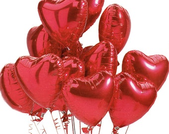 RED Heart Balloons | Valentine's Red Heart Balloons | Red Party Decorations | Red Birthday | Red Valentine's Heart Balloon
