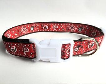 Red & Black Paisley Dog Collar - Large