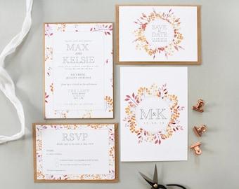Kelsie + Max Sample Invite Suite   Autumnal Floral Wedding Suite   Floral Invite   Invitation Suite   Wedding Stationery   Rustic Wedding