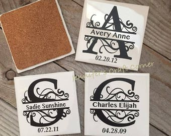 Personalized Coasters, Tile Coaster, Monogrammed Coaster, Wedding Favor, Wedding Gift, Name Tile Coasters, Name Sign, Bridal Shower, Coaster