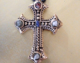 Gothic cross pendant - casted bronze and rock cristal