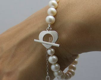 Freshwater Pearl Bridal Bracelet Sterling Silver Love Heart Toggle and Puffed S/S Heart on a chain. Matching Pearl Stud Earrings  Bridesmaid
