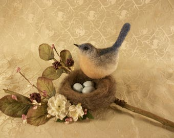Felted Bluebird with Nest, felted Nest