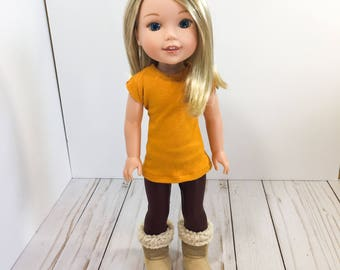 14.5 Inch Doll Clothes- mustard top, maroon leggings, and doll shoes fits Dolls Like Wellie Wishers doll clothes