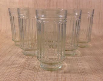 Vintage Anchor Hocking Banded Ribbed Drinking Glasses Tumblers SET OF 6