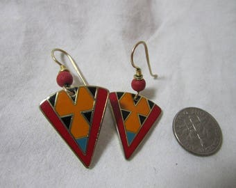 "Rare Vintage LAUREL BURCH Enamel ""RANYA"" Vibrant colors! Gold Tone, Orange, Red, Black, and Green Drop Pierced Earrings"