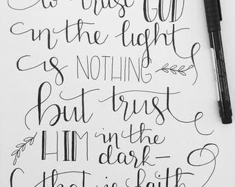 Trust God Original Hand-lettered Art with Mat