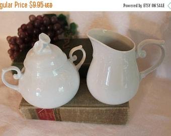 SALE Vintage Centurian Collection White Porcelain Creamer and Sugar Bowl Set