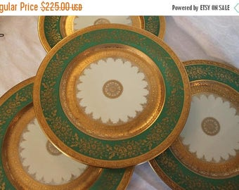 """SALE Set of 4 Stunning Heinrich & Co Antique Victorian 11"""" Dinner Plates - Emerald Green and Gold Pattern"""