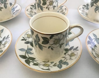 6 Midwinter Wild Rose Tea cups and saucers