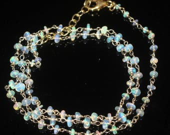 """92.5 Sterling Silver Wire Wrapped Necklace 28 Tcw 2to4 mm beads 20""""Natural Ethiopian Welo Fire Opal Necklace R3610"""
