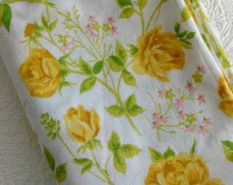 Yellow Roses Vintage Twin Flat Sheet / flawless, no tag / 1970s / cotton muslin / fits twin or double bed